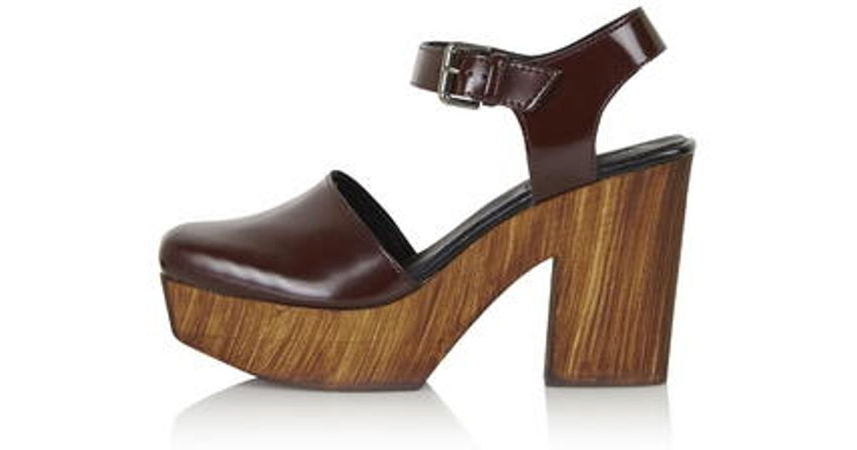 7edffd0c2958 TOPSHOP Smile Wooden Platform Clogs in Purple - Lyst