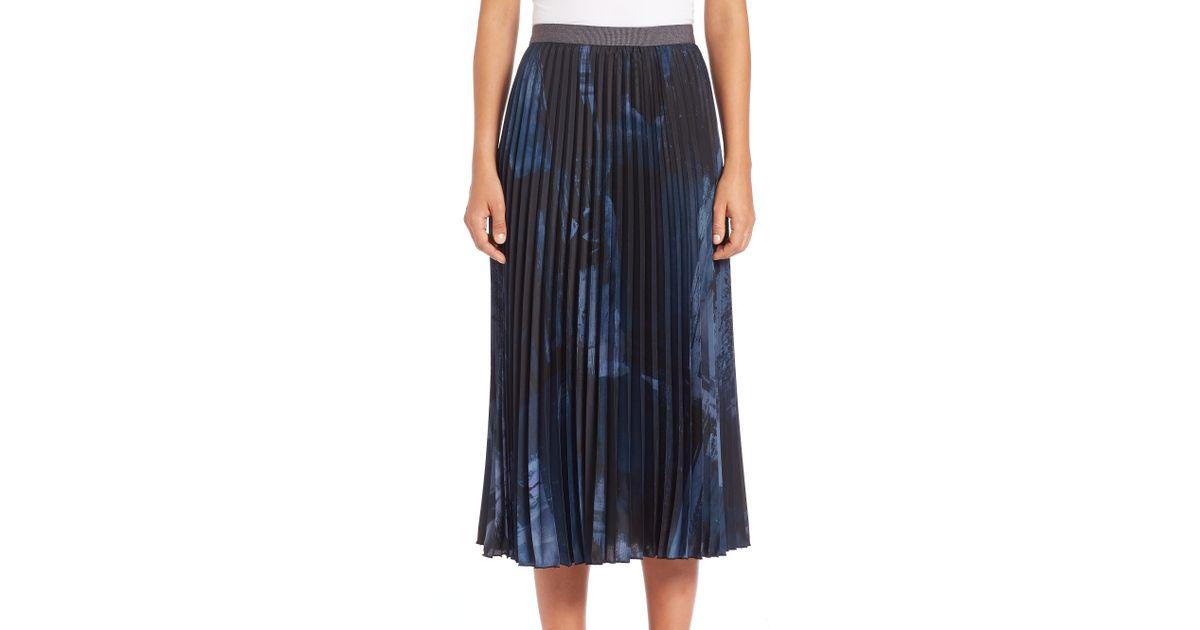 4d76bfbd7 Weekend by Maxmara Petalo Abstract-print Pleated Midi Skirt in Blue - Lyst
