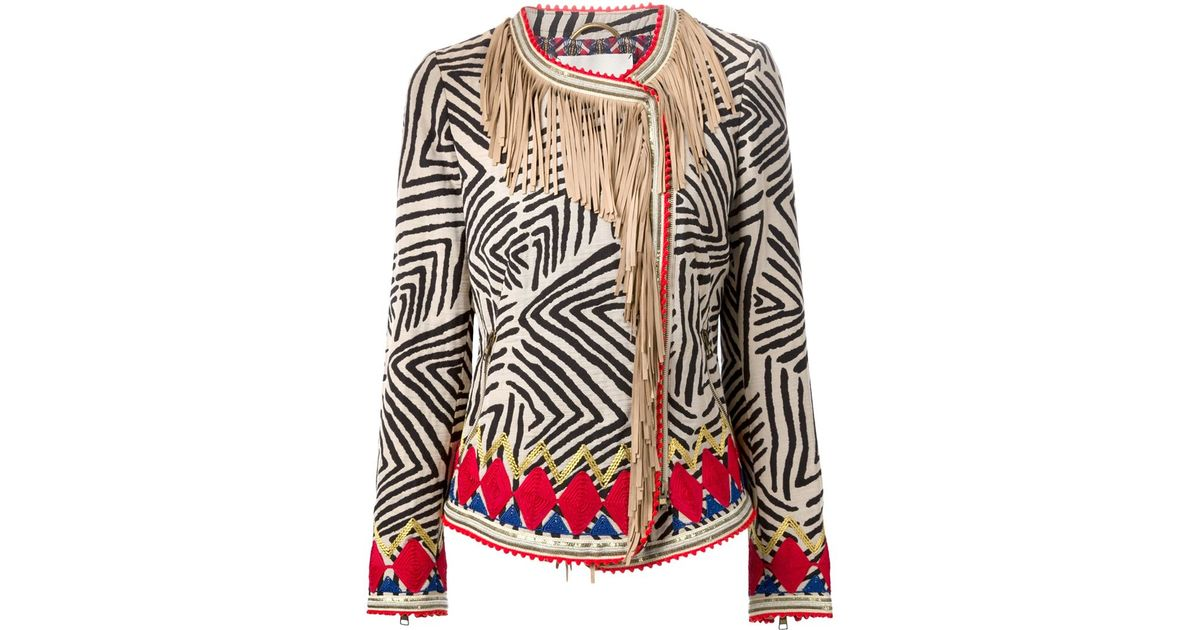 f1566c310b Bazar Deluxe Printed Fringed Jacket - Lyst