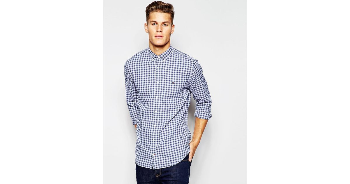 Tommy Hilfiger Shirt In Large Gingham In Blue For Men Lyst