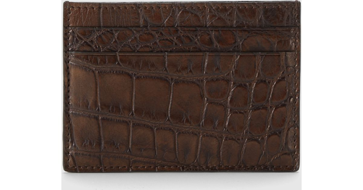 42f8b87de5a Lyst - Gucci Crocodile Card Case in Brown for Men