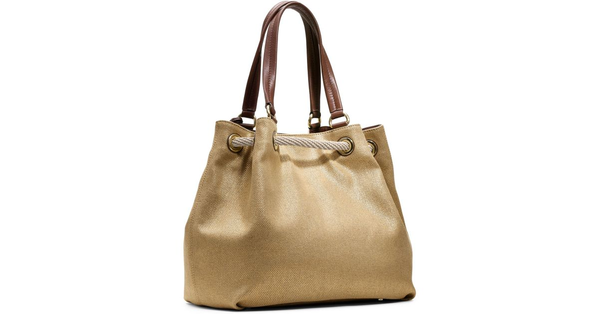 7cb2a117a682 Michael Kors Marina Large Canvas Tote Bag in Natural - Lyst