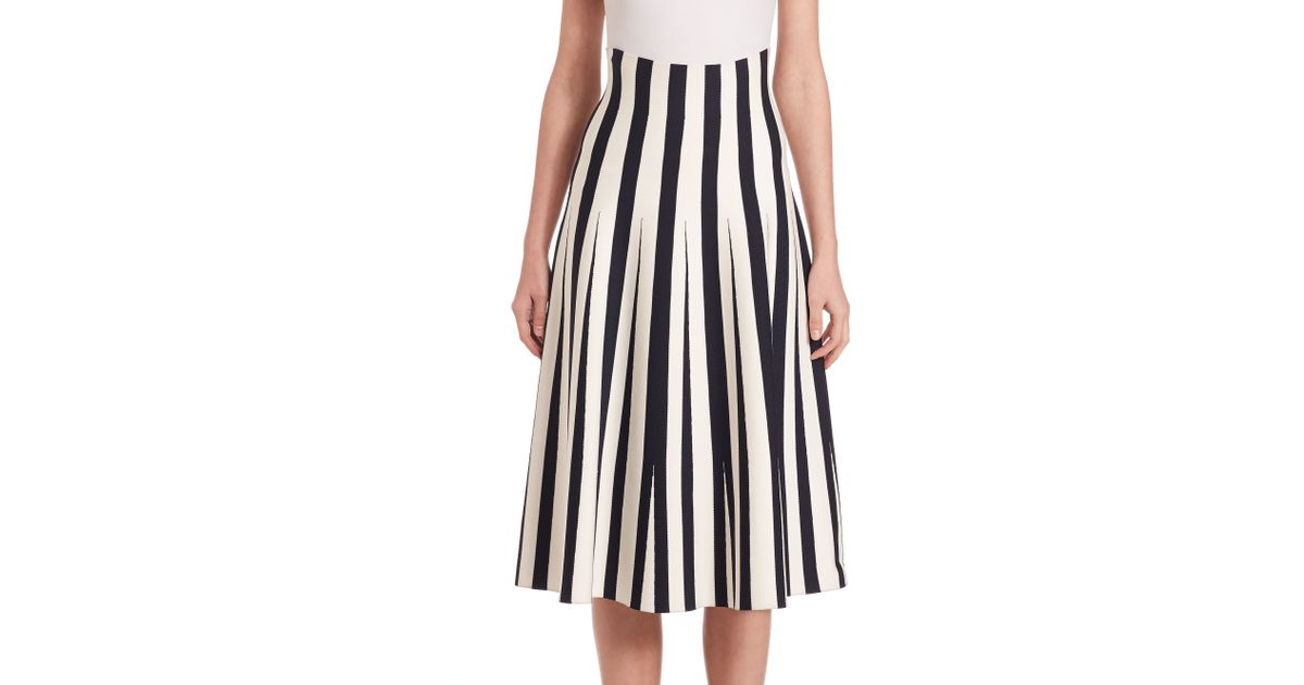 wang striped a line skirt in blue marine white