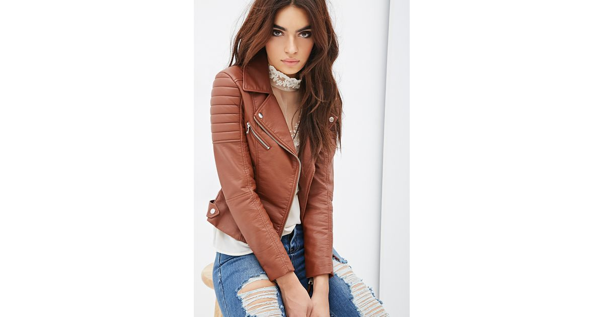 Forever 21 Quilted Faux Leather Moto Jacket in Brown   Lyst : quilted faux leather moto jacket - Adamdwight.com