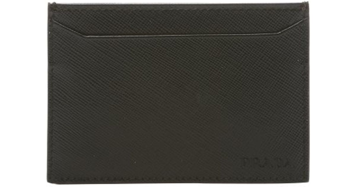 Prada Black Leather Card Holder in Black for Men | Lyst