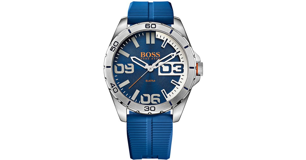 5e20ce757 Lyst - BOSS Boss Orange Berlin Stainless Steel Blue Silicone Strap Watch,  1513286 in Blue for Men