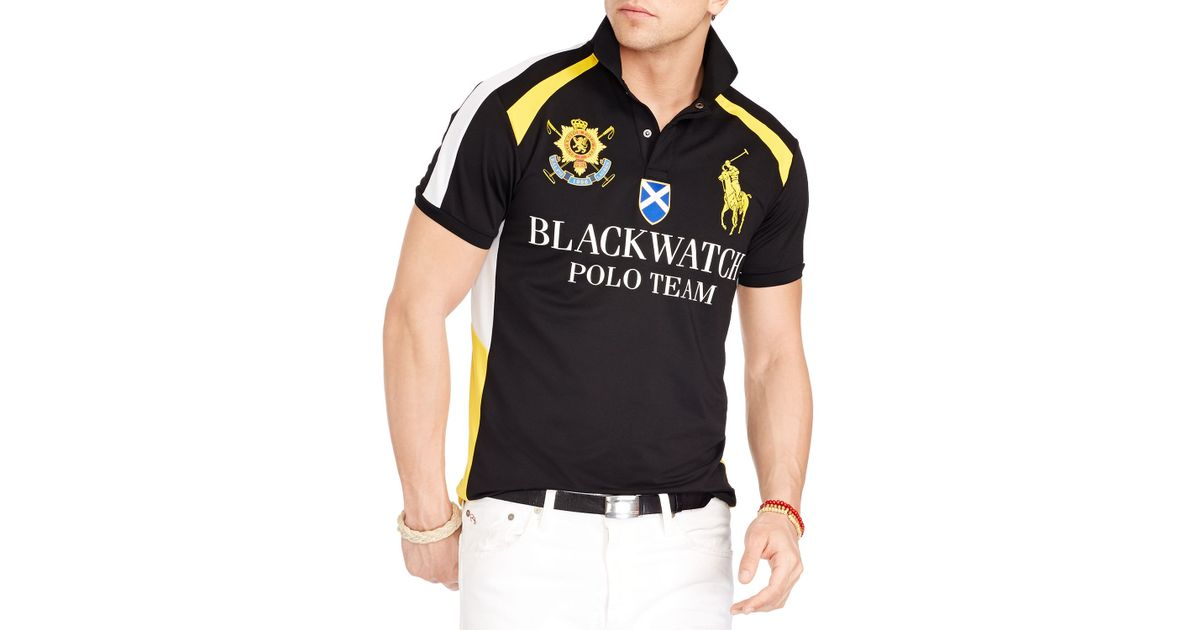 e9cc53266 Ralph Lauren Polo Black Watch Airflow Jersey Uniform Shirt in Black for Men  - Lyst