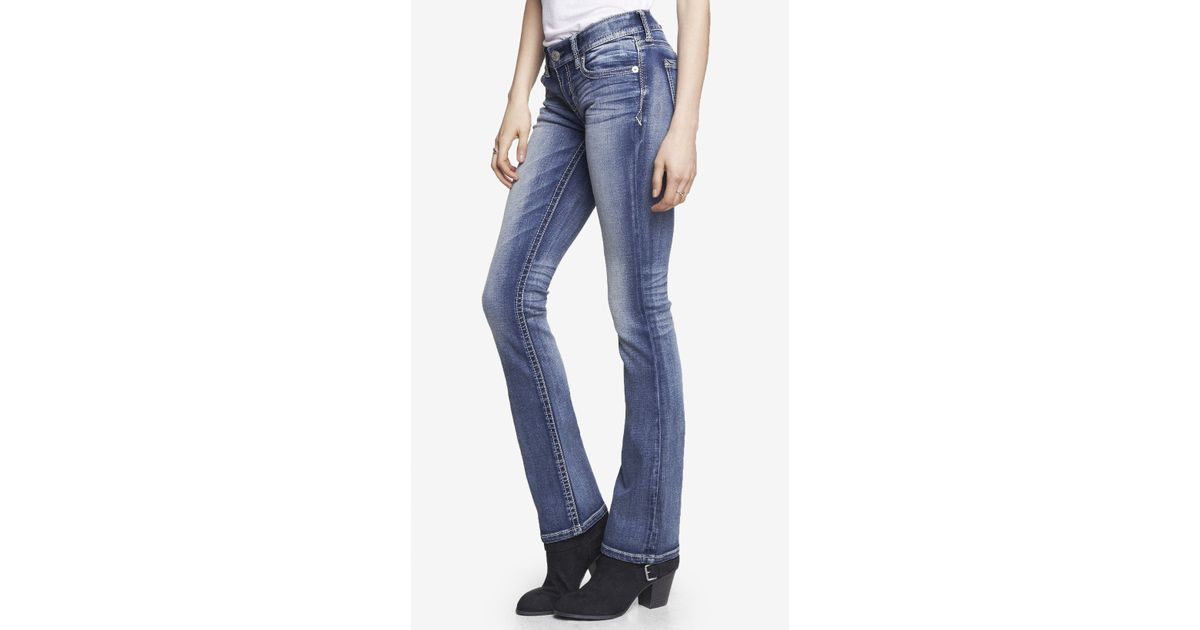 Express medium wash low rise thick stitch barely boot jean for Express wash roma