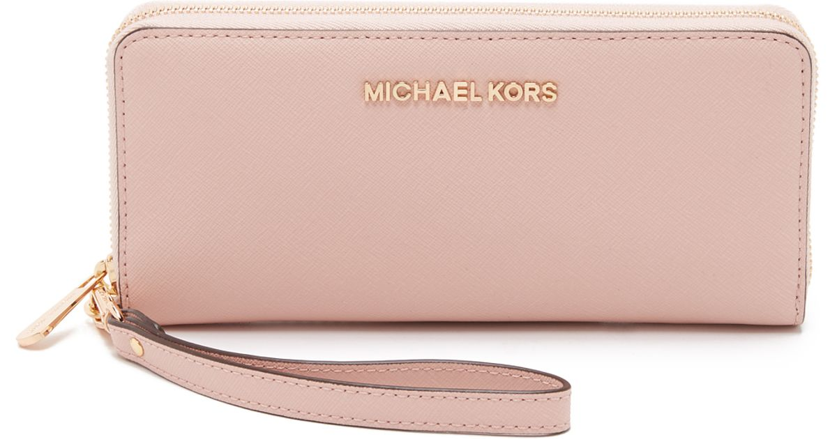 14f6f2fa1e92 MICHAEL Michael Kors Jet Set Travel Continental Wallet - Ballet in Pink -  Lyst