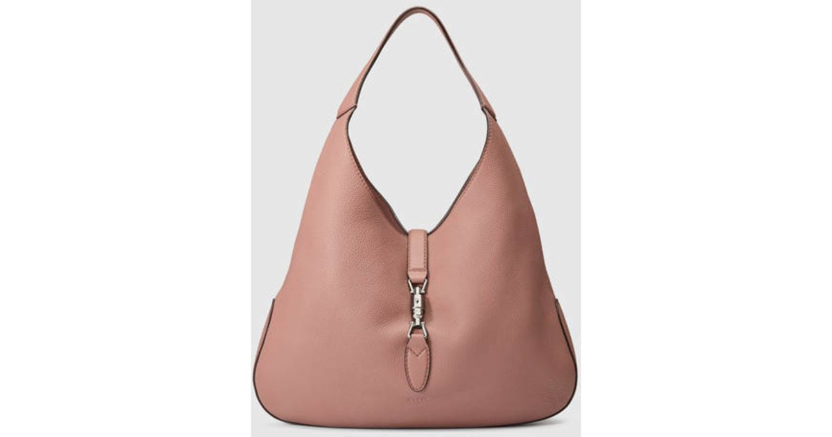 Lyst - Gucci Jackie Soft Leather Hobo in Pink 6f6bde80ccfdb