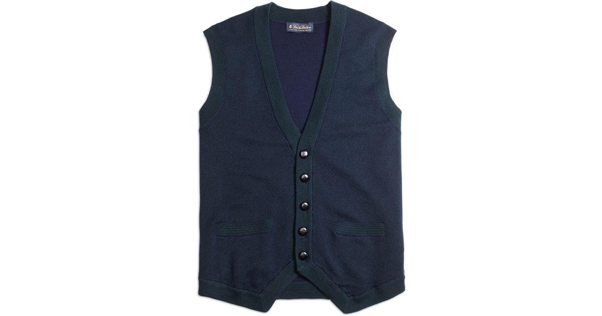 Lyst Brooks Brothers Merino Wool Button Down Vest In