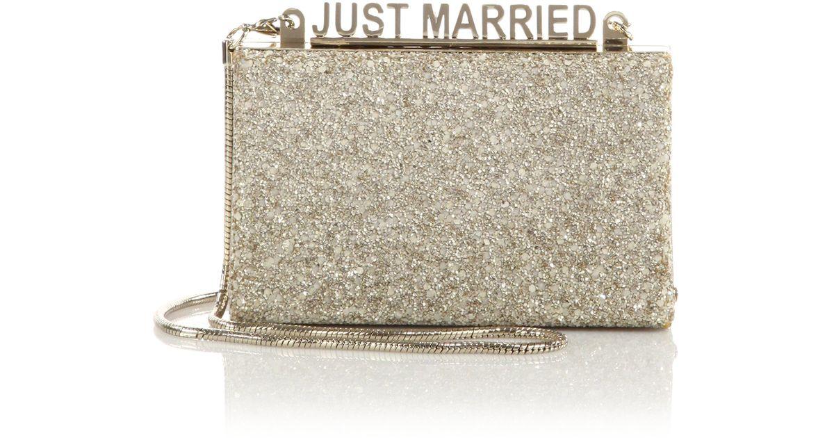 12eaa203d46226 Lyst - Kate Spade Wedding Bell Glitter Just Married Clutch in Metallic