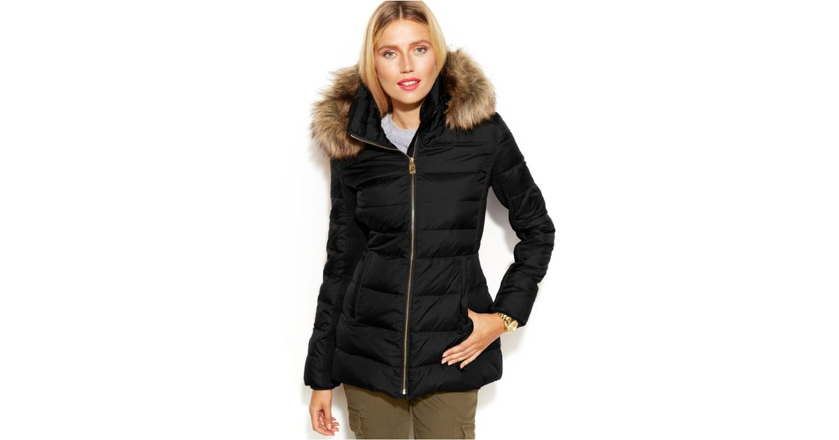 33d0ea66964dd Lyst - Michael Kors Michael Petite Hooded Faux-Fur-Trim Down Puffer Coat in  Black