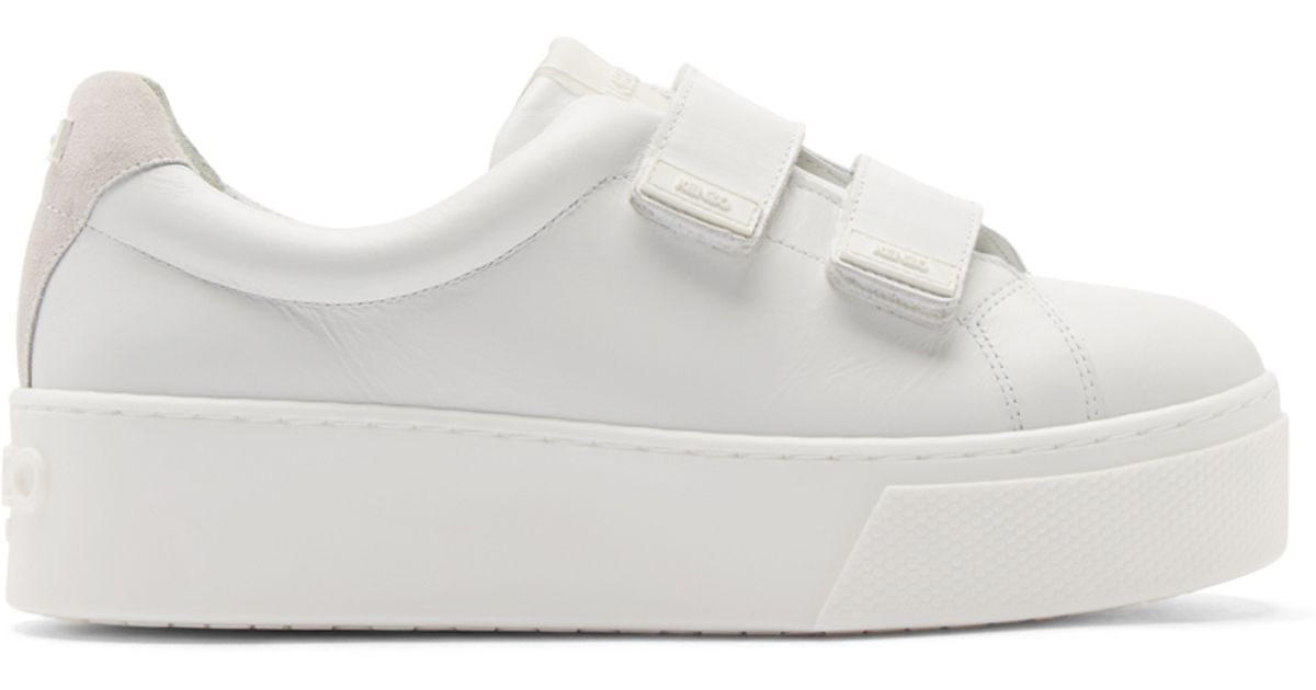 373be8191f2a Lyst - KENZO White Leather Velcro Platform Sneakers in White
