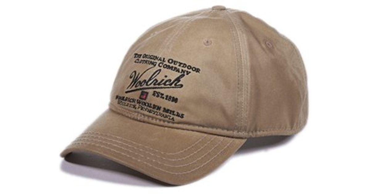 Lyst - Woolrich Oil Cloth Baseball Cap in Natural for Men 7e335e9ff9e