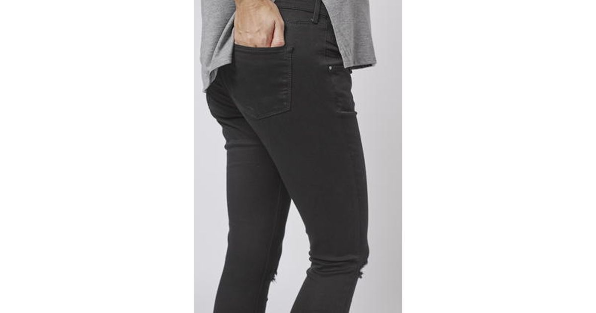 f94912cc0f837 TOPSHOP Maternity Moto Ripped Jamie Jeans in Black - Lyst