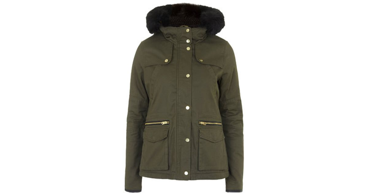 Topshop Borg Lined Short Padded Parka in Natural | Lyst