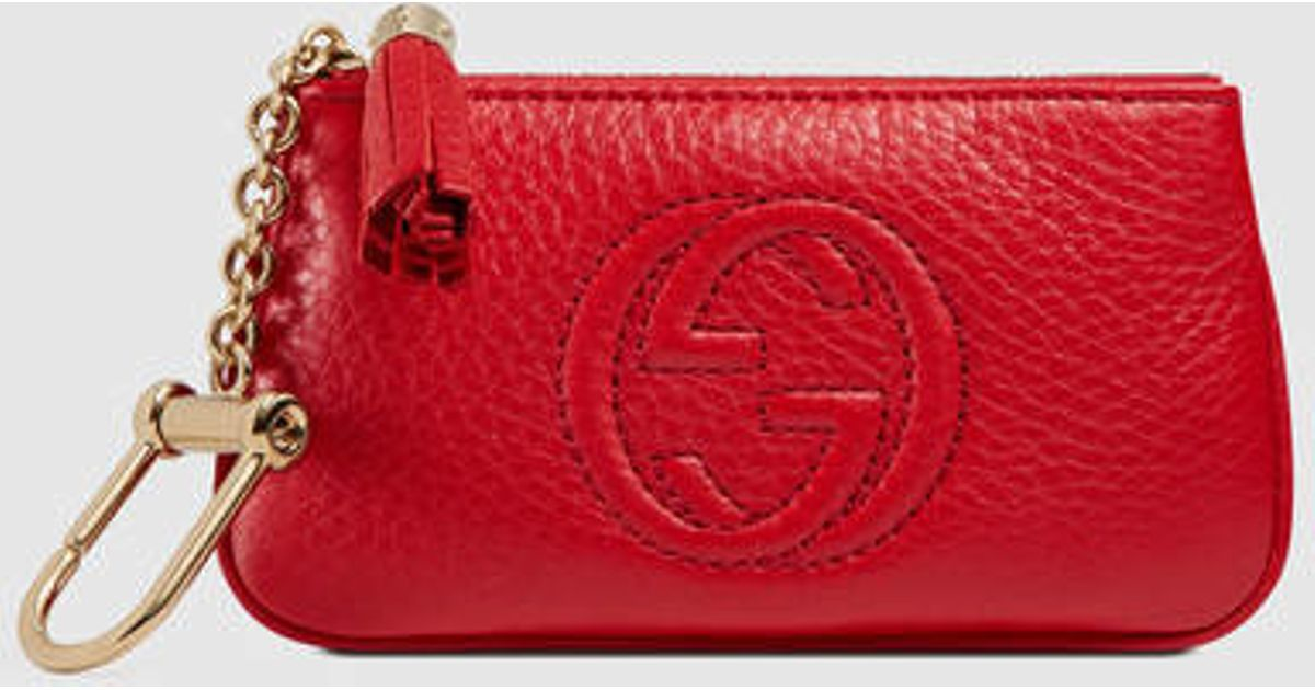 Lyst - Gucci Soho Leather Key Case in Red 39a5bbce8