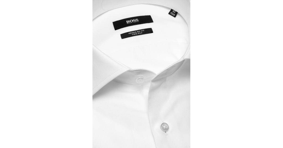 1ce82078 BOSS Plain Regular-fit Shirt In Cotton: 'gerald' in White for Men - Lyst