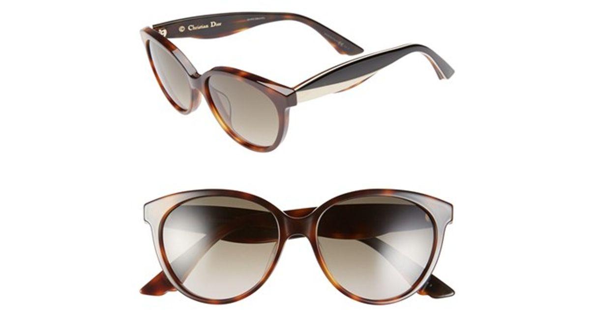 a11c9ca6e11 Lyst - Dior  envol 3  55mm Cat Eye Sunglasses - Havana  Ivory Black in White