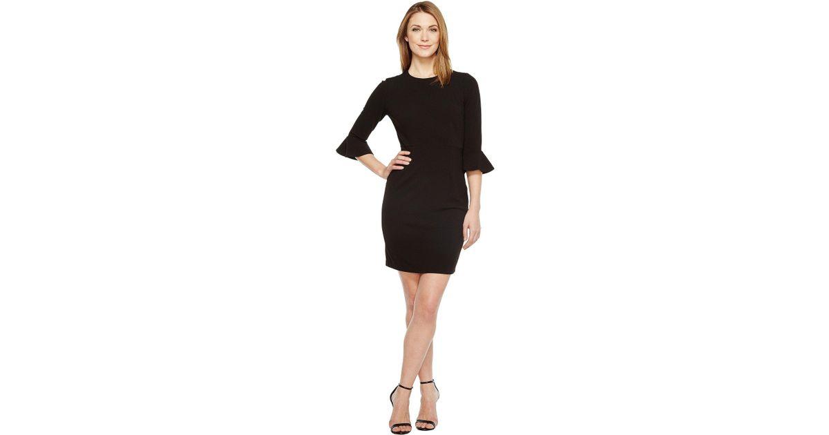 5131f3ce Lyst - Donna Morgan 3/4 Bell Sleeve Sheath Dress in Black