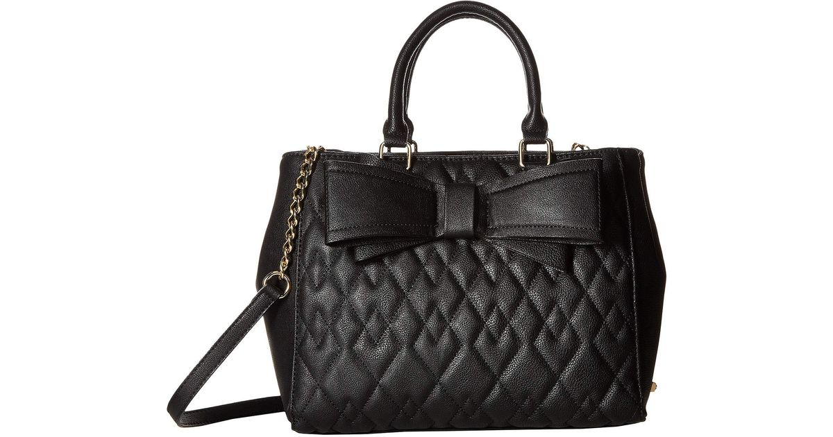 80d8550bfb Lyst - Betsey Johnson Diamond Quilted Satchel in Black