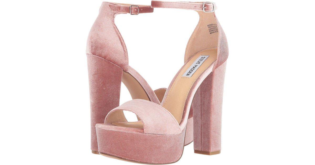 025e081976c Steve Madden - Pink Gonzo Velvet Dress Sandals - Lyst