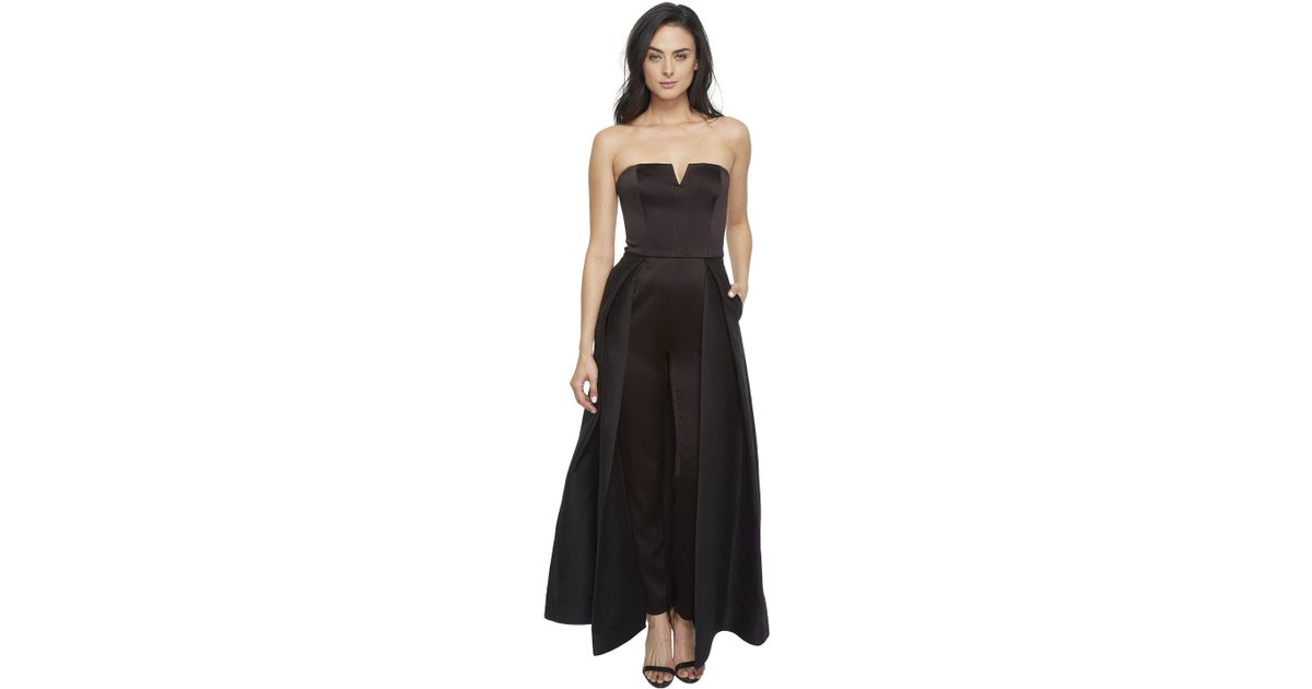 f0c74a4110d2 Lyst - Halston Strapless Jumpsuit With Structured Skirt Overlay in Black