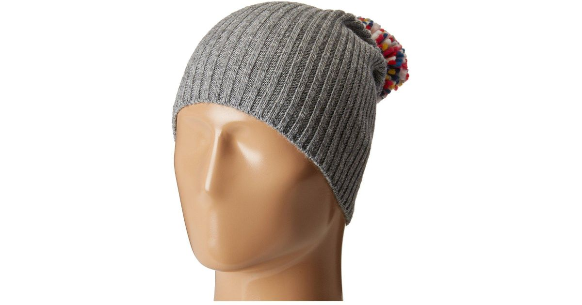 59692a6880f Lyst - Hat Attack Lightweight Rib Watch Cap With Knit Pom in Gray