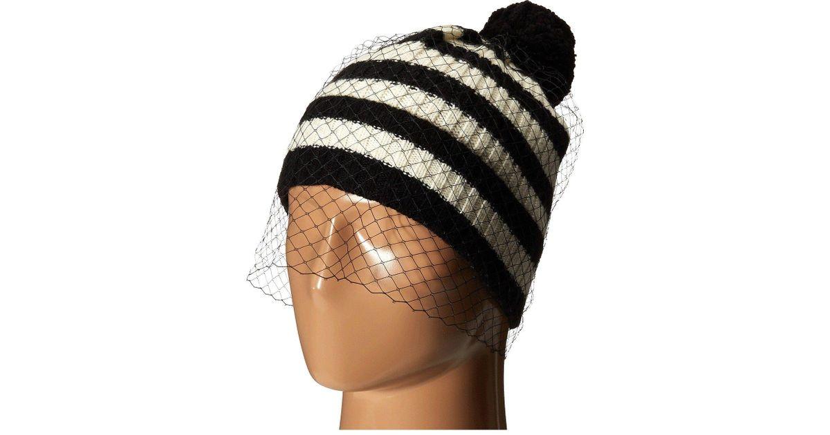 1f62ece20c7 Lyst - BCBGMAXAZRIA Striped Veil Beanie in Black for Men