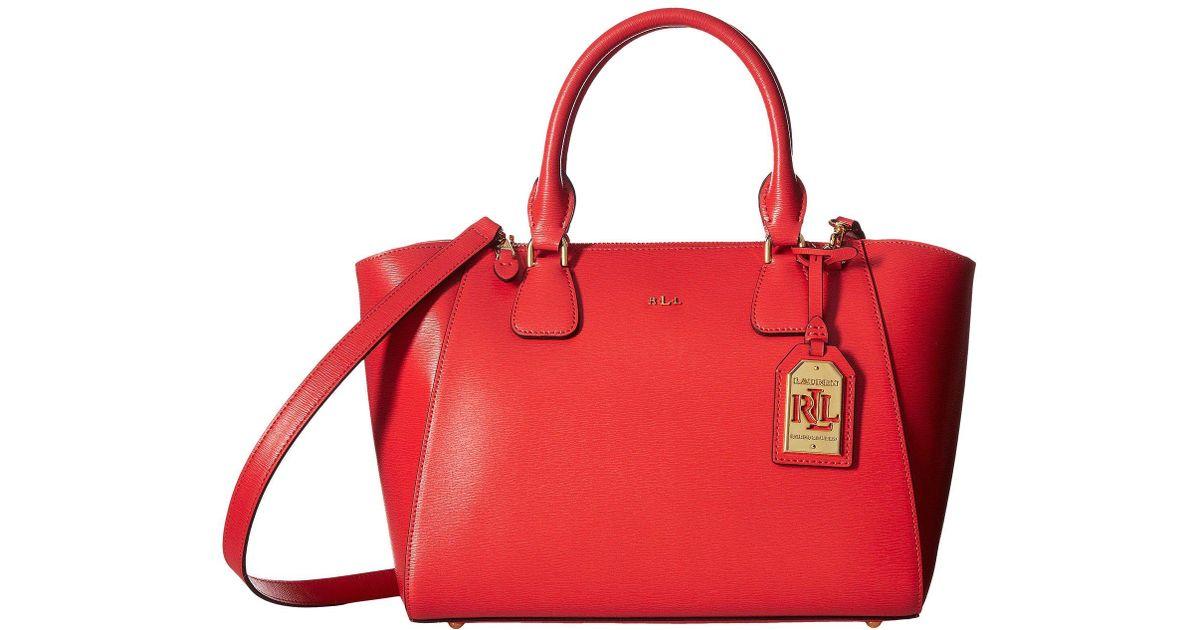 Lyst - Lauren by Ralph Lauren Newbury Stefanie Ii Satchel Small in Red 489cead0b1