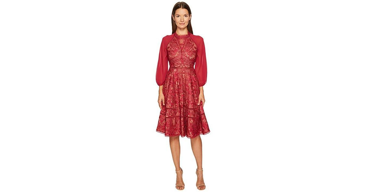 8ea6beef27a2 Marchesa notte Giupure A-line Cocktail Chiffon And Lace Dress (wine) Dress  in Red - Lyst