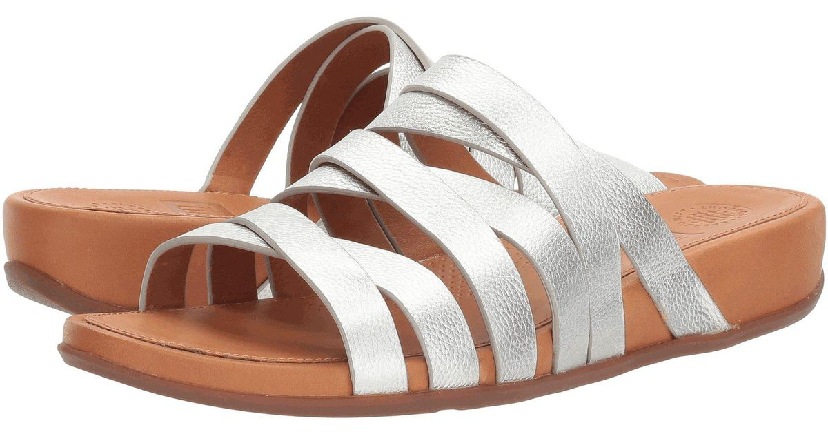 95925e69c497 Lyst - Fitflop Lumy Leather Slide in Metallic
