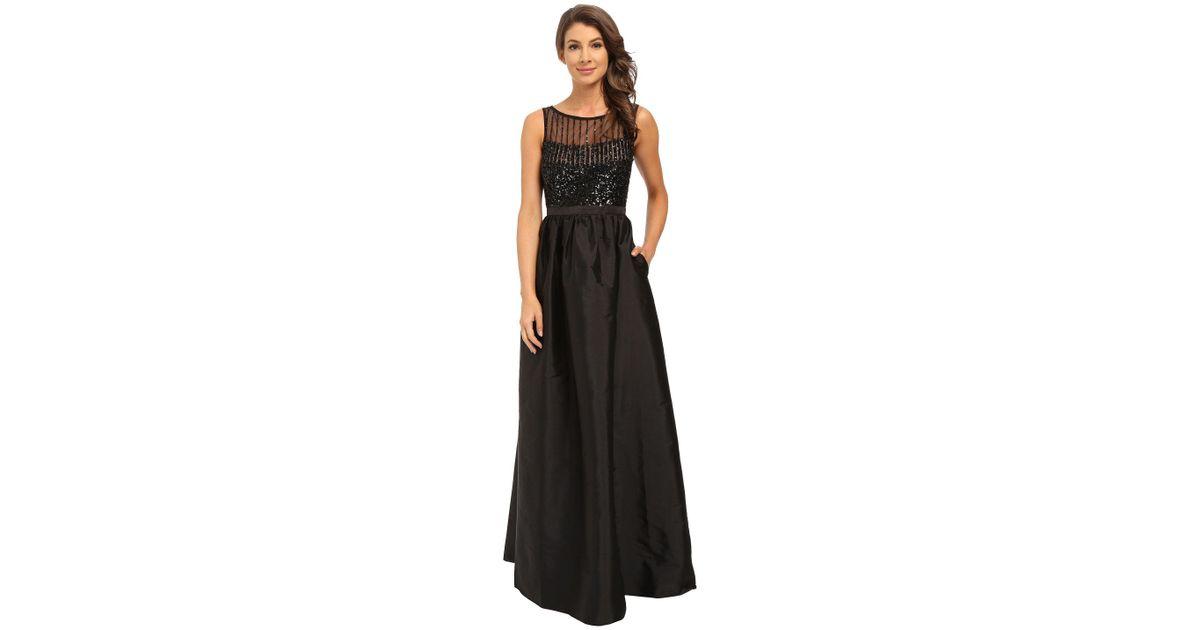 f8f44c97c47 Adrianna Papell Sleeveless Beaded Bodice Taffeta Ball Gown in Black - Lyst