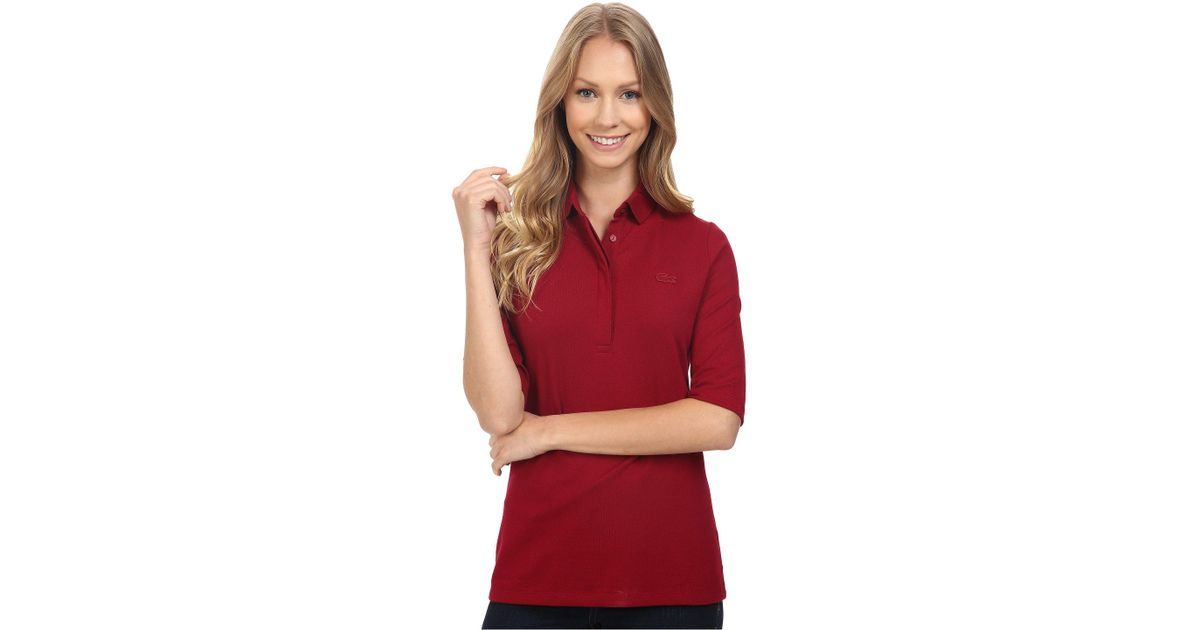 52ede62d6b Lyst - Lacoste Half Sleeve Slim Fit Stretch Pique Polo Shirt in Red