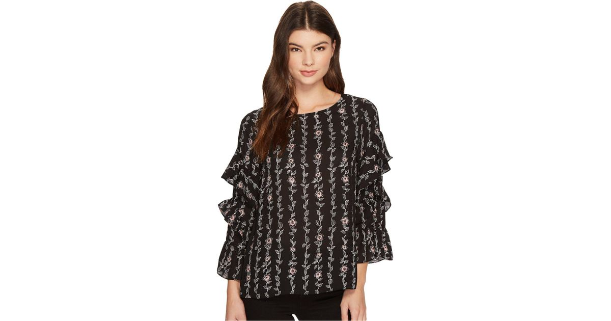 b837081819e Cece Long Sleeve Tiered Ruffle Sleeve Floral Vine Blouse (rich Black) Blouse  in Black - Lyst