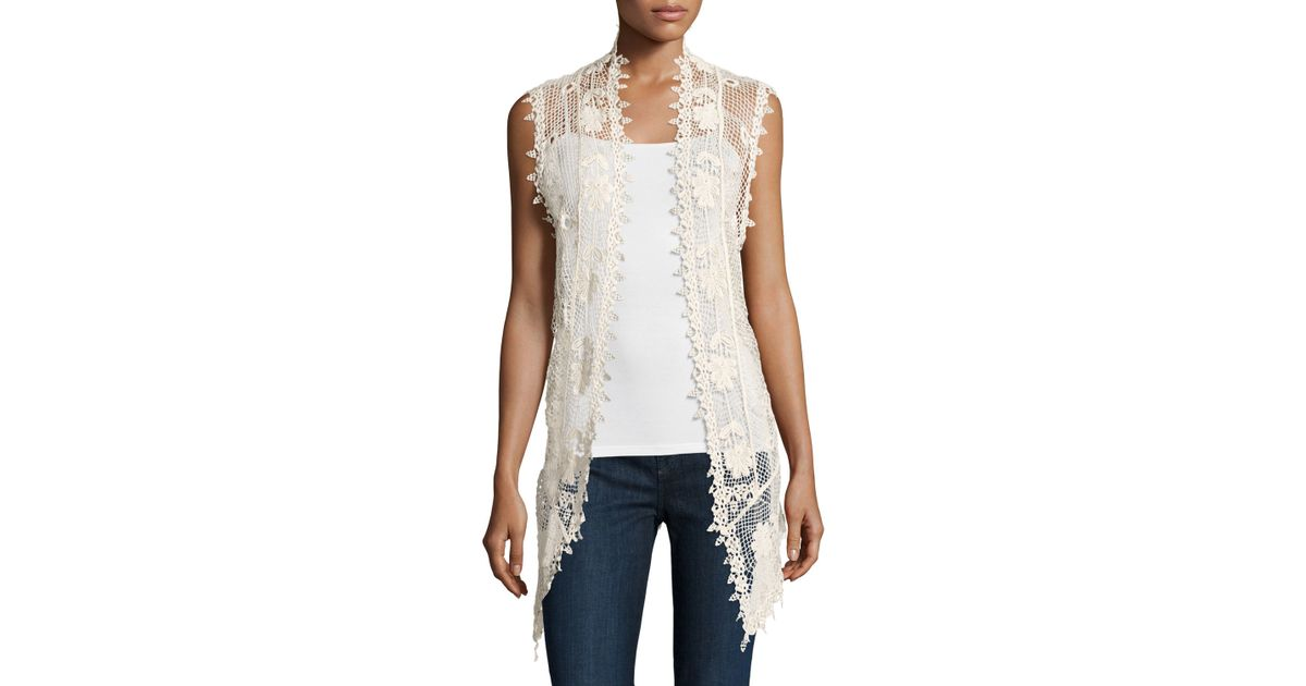 Liquid By Sioni Long Sleeveless Crochet Vest In Natural Lyst