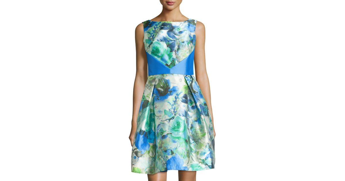 45a0c792054 Lyst - THEIA Sleeveless A-line Watercolor Cocktail Dress
