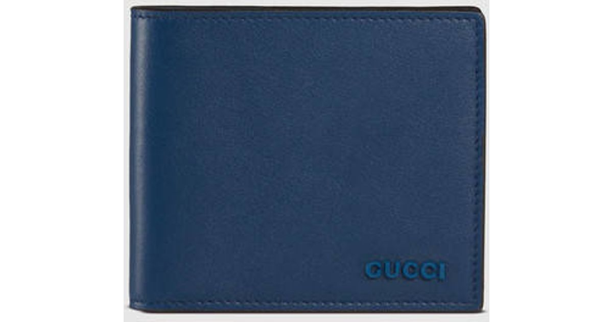 a8e9442c90b9 Gucci Rubber Leather Wallet in Blue for Men - Lyst