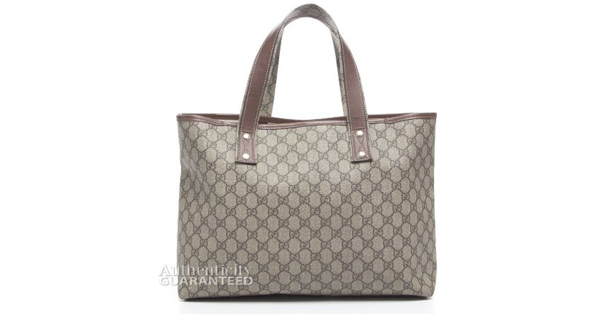 d04c7312df9 Lyst - Gucci Pre-owned Monogram Canvas Web Tab Tote Bag in Brown