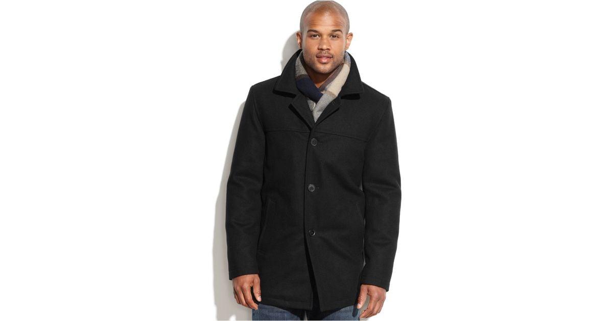 Tommy hilfiger Wool-blend Melton Walking Coat With Scarf in Black ...