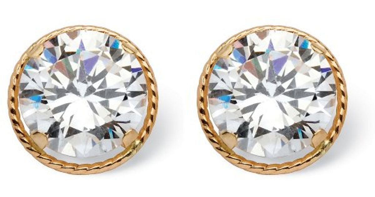 Lyst Palmbeach Jewelry 4 Tcw Round Martini Set Cubic Zirconia Stud Earrings In 14k Gold Metallic