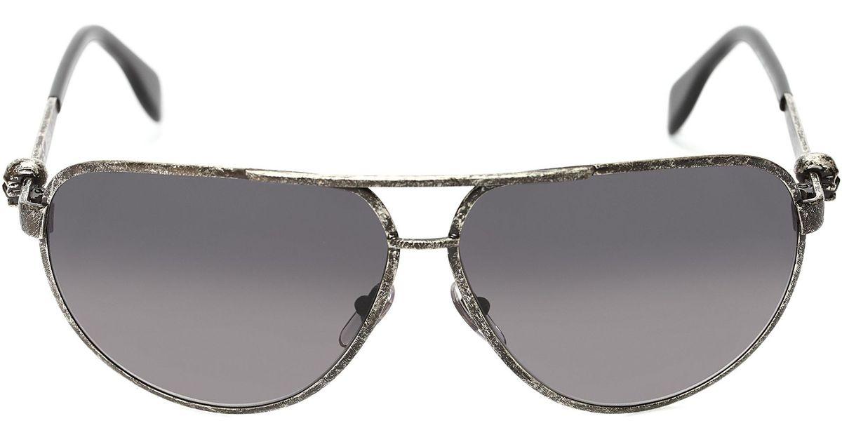 200c9667ad Lyst - Alexander McQueen Metallic Skull Pilot Sunglasses in Gray for Men