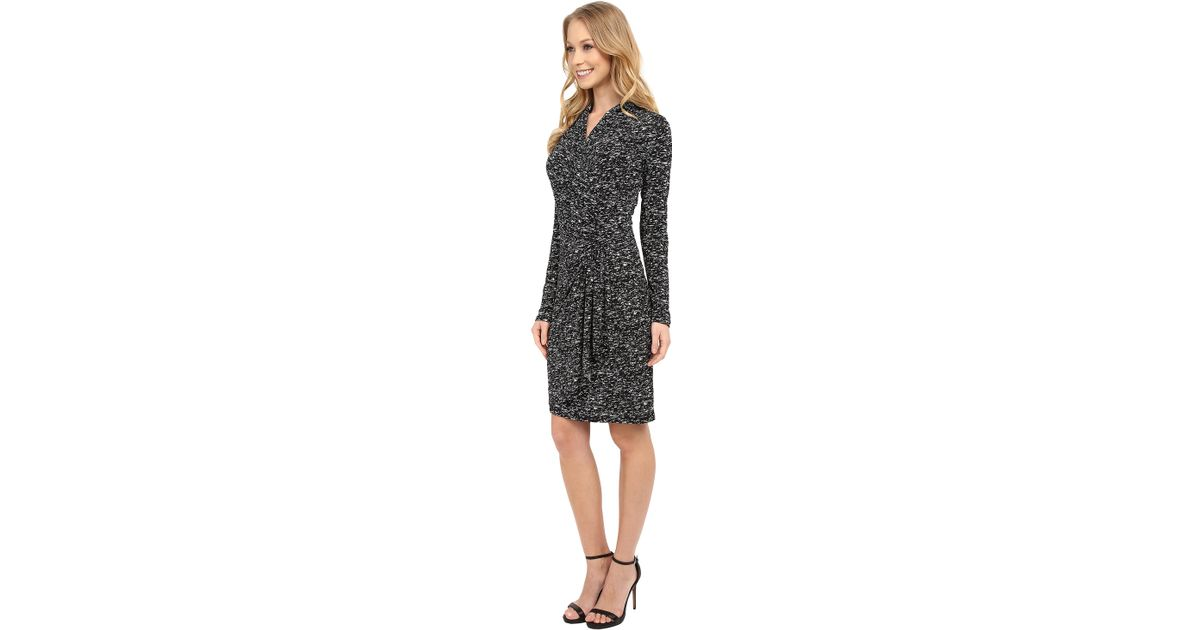 Lyst Karen Kane Speckle Print Cascade Wrap Dress In Black