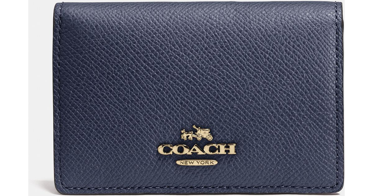 Lyst coach business card case in crossgrain leather in blue colourmoves