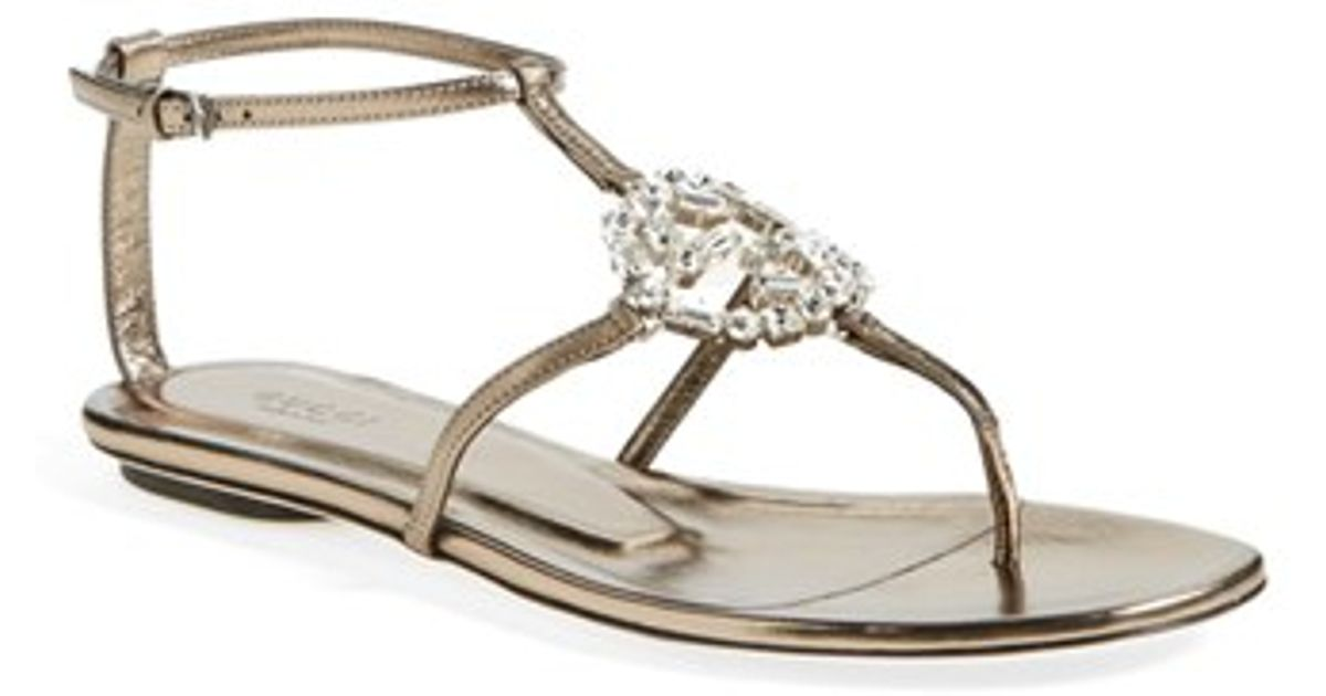 Lyst - Gucci  gg  Crystal Thong Sandal in Natural