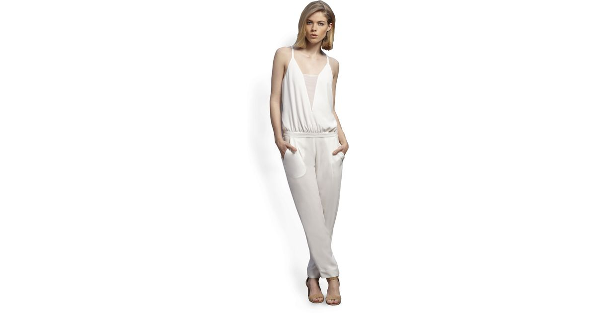 89e1a3c037d Lyst - BCBGMAXAZRIA Waylen Splitback Jumpsuit in White