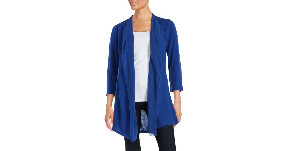 Anne klein Chiffon Open-front Cardigan in Blue | Lyst