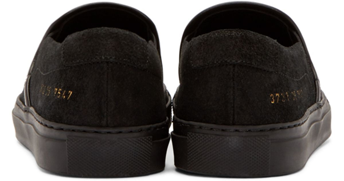 b82f4cfecad5 Lyst - Common Projects Waxed Suede Slip-On Sneakers in Black