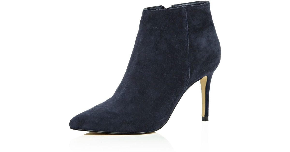 River Island Navy Suede Pointed Ankle Boots In Blue Lyst